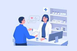 Man Customer Standing near Cashier Desk and Holding Medical Prescription. Doctor Pharmacist Consulting Patient in Pharmacy Store. Pharmaceutical Industry.  Flat Cartoon Vector Illustration.