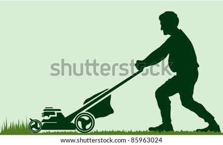 Clipart Red Lawn Mower 02 Waving