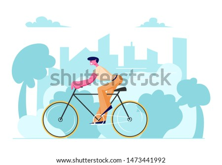 Man Cyclist Riding Bike Outdoors in Summer Day on Cityscape Background. Bicycle Active Sport Life and Healthy Lifestyle Activity, Ecology Transport in Town, Bike Rider Cartoon Flat Vector Illustration
