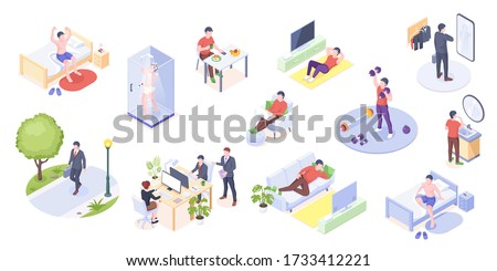 Man daily life, home routine, work and everyday activity, vector isometric icons. Man daily life at home and work office, morning wake up, gym exercises, eating breakfast, reading and relaxing on sofa Stock photo ©