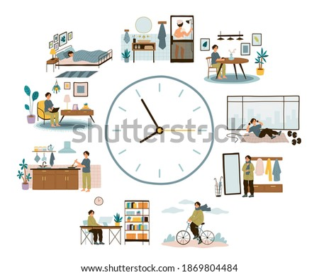 Man daily schedule. Lifestyle activities temporal distribution, guy life day, round clock planning time different everyday situations, relax and work, walking and sport vector cartoon isolated concept Foto stock ©