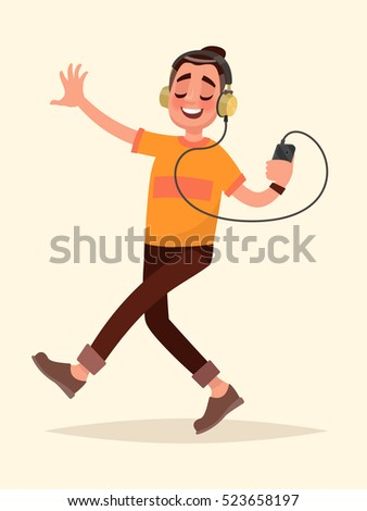man dancing listening to music