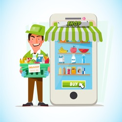 Man Delivering Online with Grocery order from smart phone. Delivery concept - vector illustration