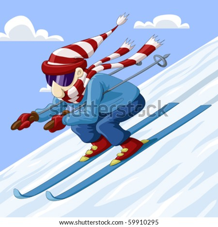 Man descends from the mountain on skis