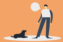 man dog handler is training a dog. concept vector flat illustration