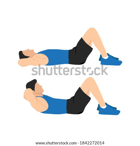 Man doing crunches. Abdominals exercise. Flat vector illustration isolated on white background.Editable file with layers ストックフォト ©