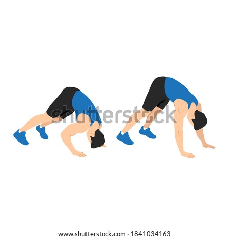 man doing dive bomber push ups in the outdoor gym on a sunny day. Bodyweight shoulder press flat vector illustration Foto d'archivio ©