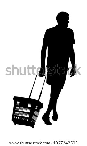 Man doing everyday grocery shopping with shopping basket at supermarket, vector silhouette isolated on white. Male usual walk after work with consumer bag buy food and another goods in market.