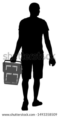 Man doing everyday grocery shopping with shopping basket at supermarket, vector silhouette isolated on white. Boy walking after work with consumer bag buy food and another goods in market.
