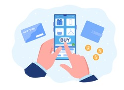 Man doing online shopping. Male hand choosing goods using smartphone app via internet app in e-shop. Concept of technology giving us opportunity to buy stuff from phone. Flat vector illustration