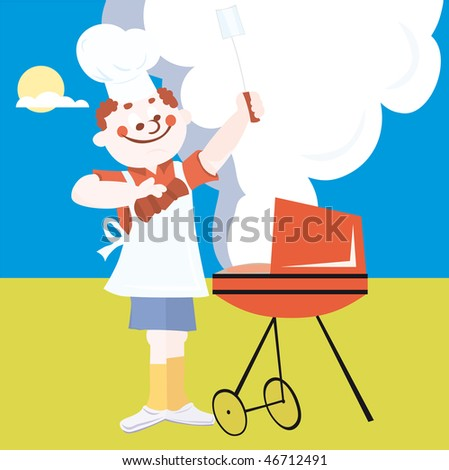 BBQ Chicken Cartoon http://www.shutterstock.com/pic-46712491/stock-vector-man-doing-outdoor-grilling-vector-illustration-cartoon.html