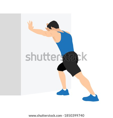 Man doing straight leg calf stretch exercise. Flat vector illustration isolated on white background. Workout character set