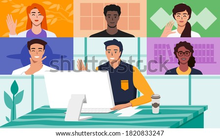 Man Doing Video Conference with Multi Ethnic Colleagues. Work from Home Office Online Virtual Meetings or Web Teleconference with Remote Team Concept. Vector Illustration in Flat Design Cartoon Style.