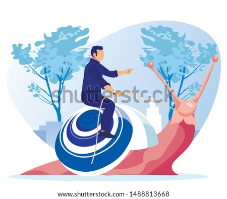 Man Dressed Smart, Riding Pink Snail, Giving it Commands, instructions and Directions, Having His Own Strategy to Achieve Success Leisurely, Against Cityscape Background with Skyscrapers and Trees