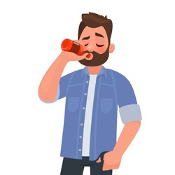 Man drinking beer from a bottle. Alcohol addiction. Vector illustration in cartoon style