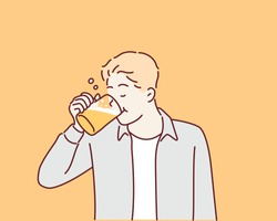 Man drinking beer. Hand drawn style vector design illustrations.