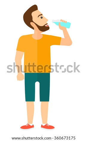 Man drinking water.