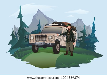 Man driver stands next to the SUV on a forest road. Jeeping emblem. Traveling by off-road car. Vector illustration, isolated on light background.