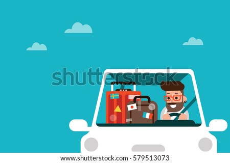 man driving car on road trip