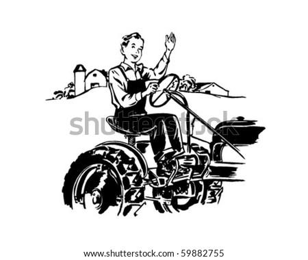 Man Driving Tractor - Retro Clip Art