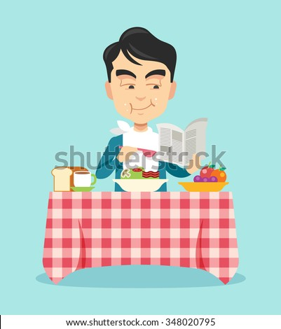 man eating breakfast vector