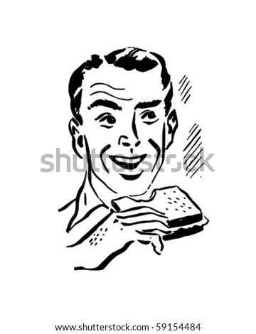 Man Eating Sandwich - Retro Clip Art