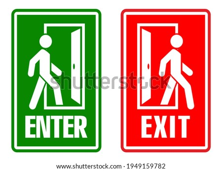 Man enters and exits the room through the door. Entry and exit sign. Vector Stockfoto ©