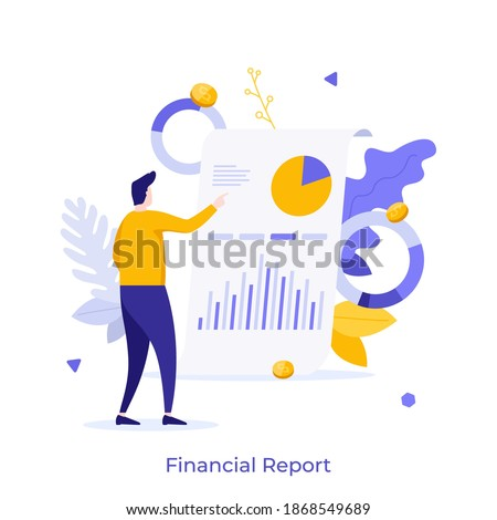 Man examining whiteboard with diagrams on it. Concept of financial report or statement, business presentation, profit or revenue indicators, company's audit. Flat vector illustration for poster. Foto stock ©