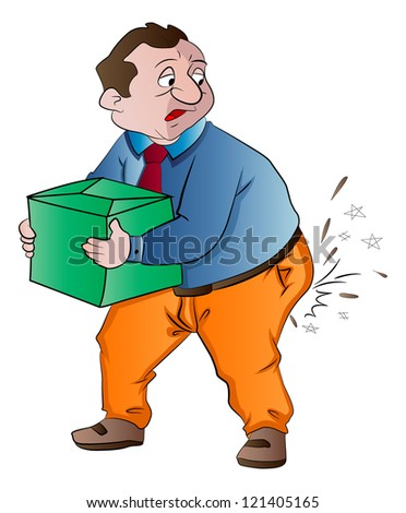 Man Experiencing Butt Pain After Lifting a Box, vector illustration