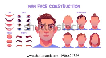 Man face constructor, avatar of caucasian male character creation heads, hairstyle, nose, eyes with eyebrows and lips. Facial elements for construction isolated on white background, cartoon vector set