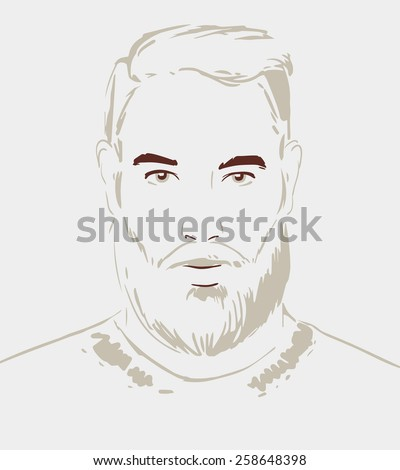 Man face hand drawn. Portrait of a young handsome man. Vector illustration eps 10