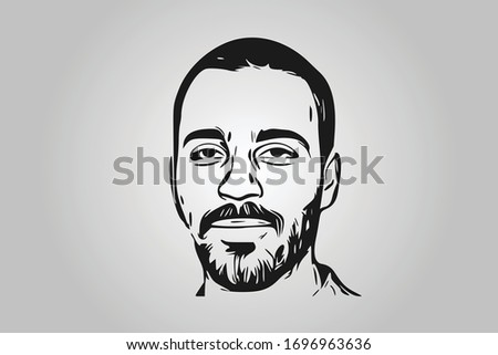 Man Face in Contour with Bristle with Black Skin and Stubble Short Hairstyle - Vector Сток-фото ©