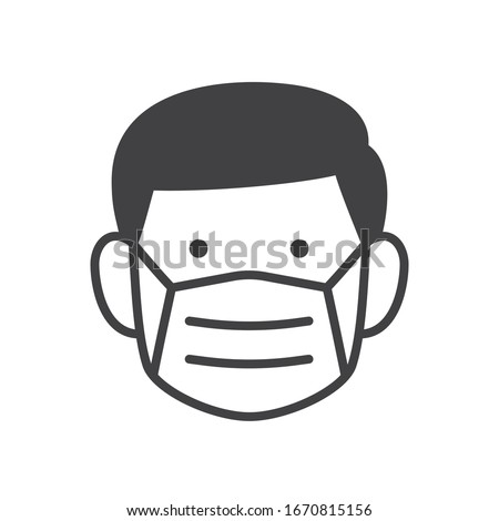 Man face with flu mask icon symbol, Concept for flu sickness and wearing medical mask to prevent the spread of virus germs, Isolated on white background, Outline design vector illustration