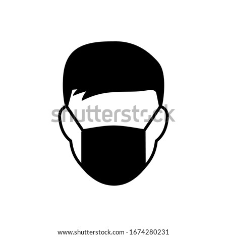 Man face with mask icon. Breathing mask on face. Safety breathing masks. Industrial safety N95 mask, dust protection respirator and breathing medical respiratory mask.