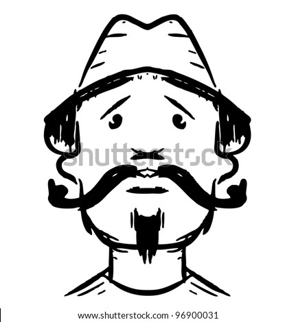 Man face with mustaches. Fast drawing sketch vector illustration