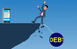 man falls into the abyss due to debt financial problems concept illustration.