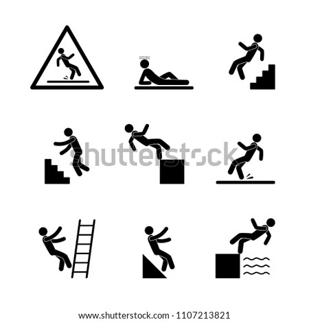 man falls  warning sign  set of ...
