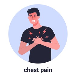 Man feel chest pain. Heart attack or symptoms of heart disease. Idea of health danger and sickness. 2019-nCoV symptom. Virus prevention and protection. Coronovirus alert. Isolated flat illustration
