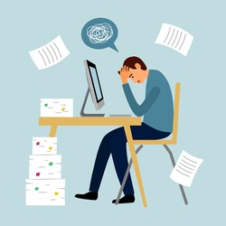 Man feel stress in office. Headache while working with computer and documents. Work load deadline. Stress at work.