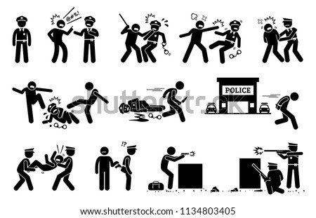 Man fighting, obstructing, and resisting police arrest. Pictogram depicts criminal threatening the law and order of justice by assaulting policeman.