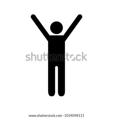 Man figure holding his hands above shoulders expressing happiness