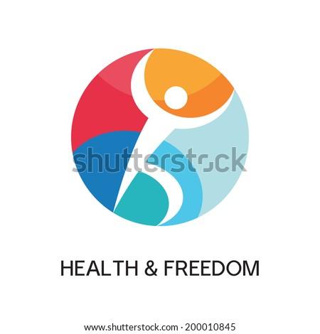 Man figure vector logo template concept illustration for sport club, health center, music festival etc. Human character sign. People symbol. Design element.