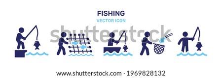 Man fishing icon vector illustration. Leisure activity concept ストックフォト ©