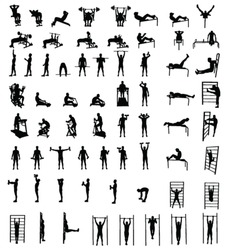 Man fitness exercise group vector silhouettes