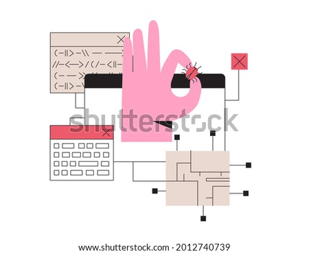 Man fix computer or laptop, deleting malware, virus, bug or system error. System administrator fixing program code. Programmer hand hold bug and install antivirus or spam protection.