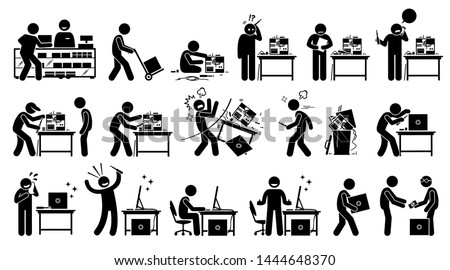 Man fixing, repairing, setup, and assembling a new PC by custom build the computer. Vector artwork depicts a computer technician upgrading and setting up a new computer with hardware parts.