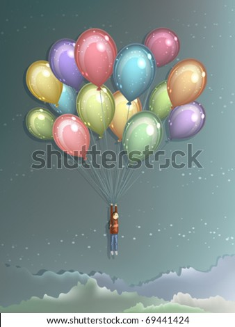 Man flying high in the air using big colorful balloons to lift himself up