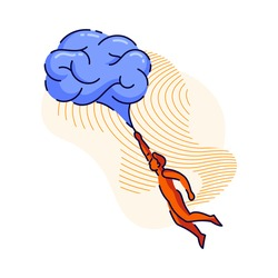 Man flying with brain air ballon or brain-  cloud. Brainstorm, inspiration and creativity metaphor, searching for new idea solutions concept.