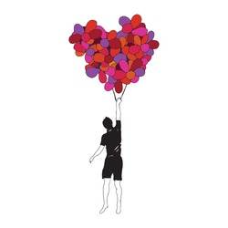 Man flying with heart from balloons. Kindness and love concept