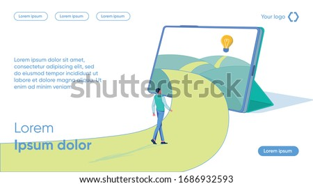 Man Follows Path Leading through Tablet Light Bulb. Student Learns to Formulate Questions as Correlation old and new Information. Acquisition new Knowledge. Ability Practically Apply Knowledge Gained. Stock photo ©